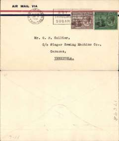 (Trinidad) Compagnie Gיnיrale Aיropostale F/F Port-of-Spain (Trinidad) to Caracas (Venezuela) via Ciudad Bolםvar, no arrival b/s (as is often the case), imprint etiquette airmail cover franked 1/-, 1d KGV stamps, canc Port-of-Spain cds. First flight by famous Aeropostale pilot Paul Vachet on a Late 28. There were 500 covers on board the flight, only 150 addressed to Caracas, see Collot and Cornu, Ligne Mermoz. pp166 & Muller #30.