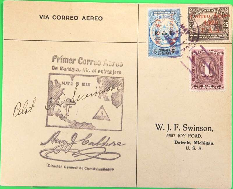 (Nicaragua) Pan Am FAM 5, F/F Managua (Nicaragua) to Miami, no arrival b/s, printed W.J.Swinson airmail cover, franked 36c, large black special flight (Managua) cachet. Signed in ink by pilot C.D. Swinson. Muller #4, 2000 Ff.