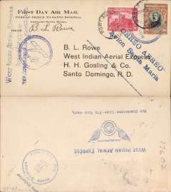 "(Haiti) West Indian Aerial Express F/F Port-au-Prince (Haiti) to Santo Domingo (Dominican Republic), b/s December 13, printed souvenir cover franked 60c, blue two line flight cachet ?Correo Aereo Avion Santa Maria?, also blue 'Plane in circle/ Avion' cachet, and verso ""West Indian Aerial Express/Inauguracion/Rep Dominicana-Cuba-Pto Rico-Haiti' cachet. Signed by the pilot Basil L. Rowe of West Indian Aerial Express, the founder of the company which was later purchased by Pan Am. Muller #11"