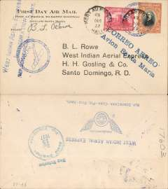 "(Haiti) West Indian Aerial Express F/F Port-au-Prince (Haiti) to Santo Domingo (Dominican Republic), b/s December 13, printed souvenir cover franked 60c, blue two line flight cachet ?Correo Aereo Avion Santa Maria?, also blue 'Plane in circle/ Avion' cachet, and verso ""West Indian Aerial Express/Inauguration/Rep Dominicana-Cuba-Pto Rico-Haiti' cachet. Signed by the pilot Basil L. Rowe of West Indian Aerial Express, the founder of the company which was later purchased by Pan Am. Muller #11"