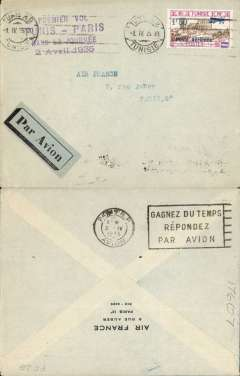 (Tunisia) F/F of same day service, Tunis to Paris, bs 3/4, plain cover franked Scarce Scott C12, postmarked Tunis April 1, 1935, special violet four line cachet for this flight, black/grey blue airmail etiquette. The pilot Ringel left Tunis on April 2nd at 8am and arrived in Marseille at 5:17 PM. The mail was transferred to the Marseille-Paris plane at 5:35pm, see Truc 'Poste Aיrienne Franחaise', vol.1 Afrique du Nord, p118 no.16.