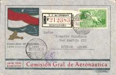 (Uruguay) Centennial flight Uruguay-Argentina, Montevideo to Buenoss Aires, bs 1/1/31specially printed red/gold/grey/light grey registered (label) cover franked 60c Sc. C46, postmarked Montevideo December 31, 1930. This flight which took place on January 1st, 1931 and was commemorating the 100th anniversary of Uruguay. Very attractive envelope, Muller #43.
