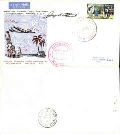 (Cook Islands) Polynesian Airlines, experimental flight, Rarotonga to Bora Bora, cachet, b/s, souvenir cover, signed by pilot J. Stancil, .