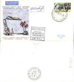 (Cook Islands) Polynesian Airlines, experimental flight, Aitutiki to Papete, b/s, souvenir cover, signed by pilot J. Washington and crew member N. W. Bonner.