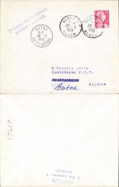 (Algeria) Air France F/F Alger to Batna, violet two line cachet, b/s, plain cover
