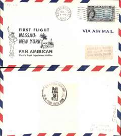 (Bahamas) F/F FAM 5  Nassau to New York AMF, cachet, b/s, Pan Am