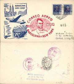 (Spain) F/F FAM 18 Barcelona to New York, cachet, b/s, ofiicial illus cover, Pan Am