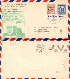 (Panama) F/F FAM 5 Panama to Houston, green cachet, b/s, airmail cover