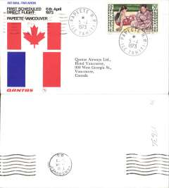 (French Polynesia) First Scheduled Direct Flight, Papete to Vancouver, b/s, official cover, Qantas