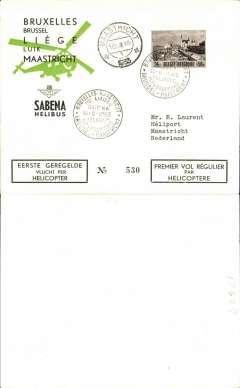 (Helicopter) Sabena, first helicopter flight, Brussels to Maastricht, arrival ds on front, special postmark, printed black/green/cream souvenir envelope franked  2F+50c.