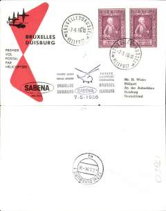 (Helicopter) Sabena, first helicopter flight, Brussels to Duisburg, b/s, printed black/red/cream souvenir envelope franked  2F+ 1F x2.
