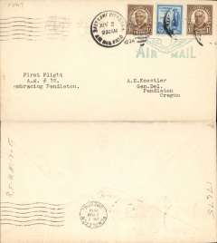 """(United States Internal) CAM 6, revised route #12, F/F Salt Lake City to Pendleton, bs 2/6, plain cover franked 8c, typed """"First Flight/A.M. #12/embracing Pendleton"""", large pale blue winged 'Air Mail' hs."""
