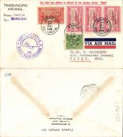 (Philippines) Trans Pacific 'Hong Kong Clipper' F/F FAM 14, Manila to Macau, cachet, b/s, printed 'Trans-Pacific Air-Mail' cover franked FDI China Clipper opt set, Pan Am.