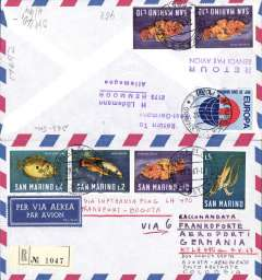 (Italy) San Marino acceptance for Lufthansa F/F Frankfurt-Bogota, registered (label) airmail cover franked L21 San Marino stamps, no arrival ds.