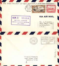 (New Zealand) Trans pacific airmail, Pan Am FAM19 F/F, Auckland to San Francisco, official flight cachet, b/s,  air cover.
