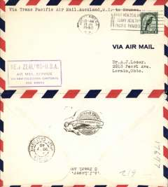 (New Zealand) Trans pacific airmail, F/F FAM 19  Auckland to Noumea (New Caledonia), purple cachet, b/s, air cover, Pan Am