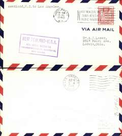 (New Zealand) Trans pacific airmail, Pan Am F/F  Auckland to Los Angeles, purple cachet, b/s, air cover, Pan Am