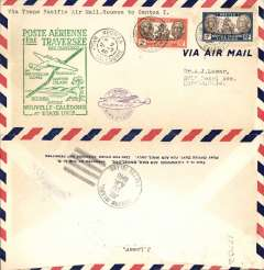 (New Caledonia) F/F FAM 19  Noumea to Canton Island, green cachet, cachet ds, b/s, air cover, Pan Am