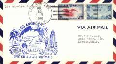 (United States) Pan Am F/F FAM 19, Los Angeles to Canton Island, airmail cover franked 31c, blue cachet, b/s.