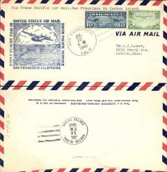(United States) Pan Am F/F FAM 19, San Francisco to Canton Island, airmail cover franked 30c, blue cachet, b/s.
