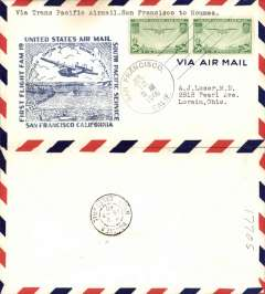 (United States) Pan Am F/F FAM 19, San Francisco to Noumea, airmail cover franked 40c, dark blue cachet, b/s.