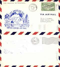 (United States) Pan Am F/F FAM 19, Los Angeles to Honolulu, airmail cover franked 20c, blue cachet, b/s.
