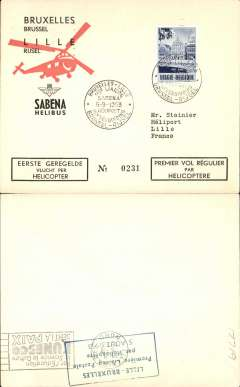 (Helicopter) Sabena, first helicopter flight, Brussels to Lille, bs 5/10, special postmark, printed black/red/cream souvenir envelope.