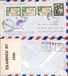 (Fiji) Pan Am, F/F FAM 19  Suva to Sydney, airmail cover franked with 1938 2d brown and green x2 (cat £16 each) and 1/-, cachet, b/s.
