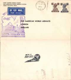 (India) Pan Am, FAM 18 first extension to Calcutta, and first around the world service by a single airline, Calcutta to New York, souvenir cover franked 12a, cachet, no b/s.