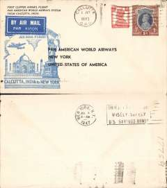 (India) Pan Am, FAM 18 first extension to Calcutta, and first around the world service by a single airline, Calcutta to New York, souvenir cover franked 1R 2a, cachet, no b/s.