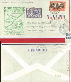 (New Caledonia) Pan Am, F/F FAM 19, Noumea to Los Angeles, green cachet, b/s, air cover.
