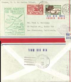 (New Caledonia) Pan Am, F/F FAM 19, Noumea to Canton Island, green cachet, b/s, air cover.