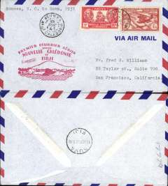 (New Caledonia) Pan Am, F/F FAM 19, Noumea to Suva, red cachet, b/s, air cover.