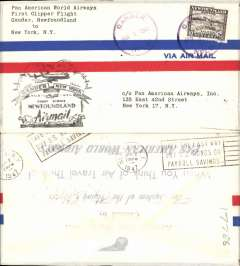 (Newfoundland) Pan Am FAM 18, first direct flight Gander to New York, cachet, bs, airmail cover.