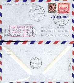 (New Zealand) Pan Am, F/F  Auckland to Suva (Fiji), red cachet, b/s, airmail cover franked 1/3d.