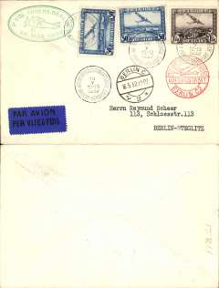 "(Belgium) Sabena F/F Antwerp to Berlin, Berlin C/L2 arrival ds on front, plain cover franked 1F50c air, and 50c airs x2, red circular 'Mit Luftpost Befordert/Berlin C2' receiver, green oval ""1e Vol Anvers-Berlin/16 Mai 1932"" flight cachet, black/dark blue bilingual airmail etiquette."