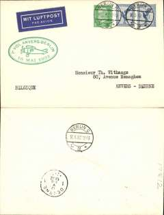 "(Germany) Sabena F/F Berlin to Antwerp, b/s 17/5, plain cover franked 45pf, green oval ""1e Vol Anvers-Berlin/16 Mai 1932"" flight cachet, black/dark blue bilingual airmail etiquette."