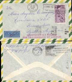 "(Bermuda) Hamilton to Buenos Aires, bs 2/7, yellow/green/white bordered airmail cover franked 3d, airmail etiquette cancelled by red double line, and fine strike red ""Insufficiently Prepaid/For Transmission By Airmail"" hs."