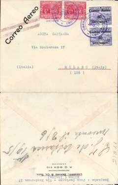 (Costa Rica) San Jose to Milan, Italy, no arrival ds, early airmail cover franked 80c air & 20c ordinary, canc Correo Aereo/Costa Rica cds, printed 'Correo Aereo' cancelled by  violet double line Jusqu'a applied in New York. Flown by FAM 5 from San Jose to Miami, by US internal air service to New York, then surface to Europe. Nice routing.