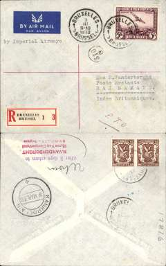 (India) Brussels to Raj Samand, bs 'Kankroli Air/8 Mar 38', registered (label) imprint etiquette cover franked 1930 5F air, typed 'Imperial Airways'. Likely an attempted first acceptance of Belgian mail for the new flying boat service to India but, having missed the 2nd March departure from London, was carried on IE632 which left Southampton on 3/3, arriving Karachi 8/3 (and Calcutta 9/3). Alternatively, flown by Sabena to Berlin, DLH to Athens, from where IE632 plane 'Clio' would have left on the morning of 5/3. A really nice looking cover prepared by Vanderborght for a specific purpose. Very interesting.