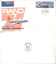 (South West Africa) SAA, Windhoek- Johannesburg, opening Rand 77, franked new SWA 20c air stamp, official souvenir cover, b/s.