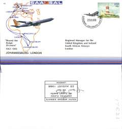 (South Africa) SAA,  25th Aniversary 'round the bulge', Johannesburg-London, official souvenir cover, b/s.