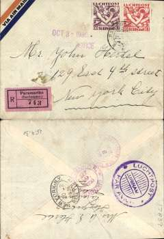 (Surinam) FAM 6 extension to Paramibo, Paramibo to New York, bs 2/10, carried on FAM 6 F/F Paramibo to Miami 3/10, via San Juan 29/9, registered (label) airmail cover franked 70c, canc 'Paramibo/25/9/30', fine strike violet circular 'Luchtpost/Surinam/Par Avion' hs verso. Nice routing.