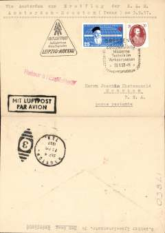 (Germany) First acceptance of East Germany mail for KLM 3/9/57 F/F Amsterdam-Houston, bs 4/9, plain cover franked 25pf Red Cross and 20pf, canc Dresden Museum 28/8 postmark, black framed 'Mit Luftpost/Par Avion' hs. 5mm non invasive closed top edge tear, otherwise fine.