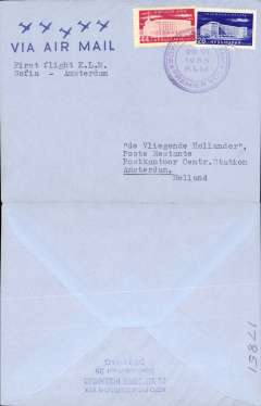(Bulgaria) KLM F/F Sofia-Amsterdam, no arrival ds, franked 44s and 28s canc special dated flight cachet.