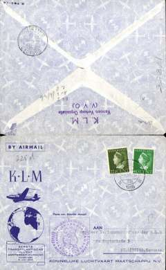(Netherlands) KLM F/F, Amsterdam to Curacao, b/s, cachet, souvenir cover.