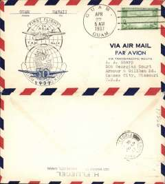 (Guam) Pan Am first FAM 14 Trans Pacific Clipper Flight, Guam to Hong Kong, b/s, official flight cachet, airmail cover franked 20c air.