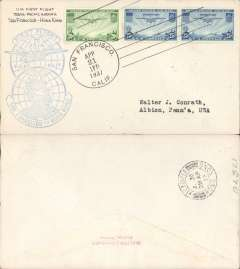 (United States) Trans Pacific F/F FAM 14 flown at new reduced 70c rate, by 'China' then 'Hong Kong' Clipper, San Francisco to Hong Kong, blue cachet, b/s, par avion etiq, airmail cover, Pan Am