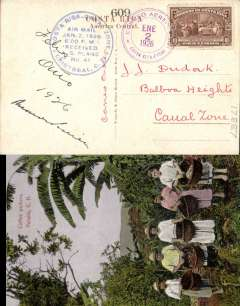 "(Costa Rica) US military aviators courier flight US army planes, San Jose to Cristobal, colour PPC showing Coffee Pickers franked 10c canc special 'Correo Aereo/Canal Zone/Ene 2 1926' postmark, blue circular arrival dated cachet on front ""Costa Rica-Canal zone/Air Mail/Jan 2, 1926/6.00pm/Received/AS Plane #41""."