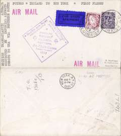 (Ireland) Imperial Airways, F/F North Atlantic Service, Shannon to New York, bs 6/8, official violet diamond cachet, airmail cover franked 1/3d, typed 'First Flight-Imperial Airways-North Atlantic Route'.